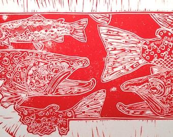 Montana Fly Fishing Artwork of Jonathan Marquardt BadAxeDesign Linocut Print original