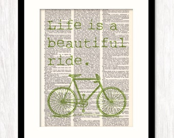 Life is a BEAUTIFUL RIDE Biking Art Print, Quote Print, Bicycle in Green, Art Print, dictionary art print, Cycling Art, Bicycle Print