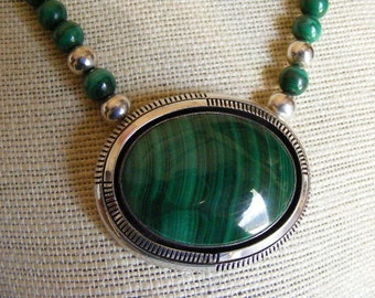 SALE..... Was 310.75... Now 210.75Native American Signed Malachite Necklace  Lot 2791
