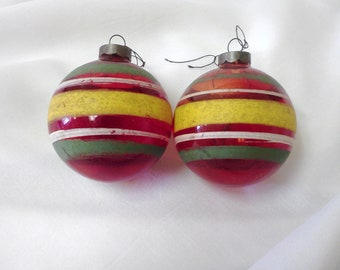 Unsilvered Christmas Ornaments Collectible Glass Striped Red Yellow White