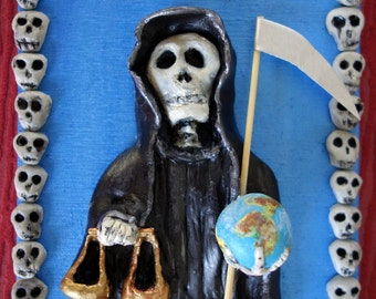 Black Santa Muerte Holy Death Statue plaque with easel Grim Reaper