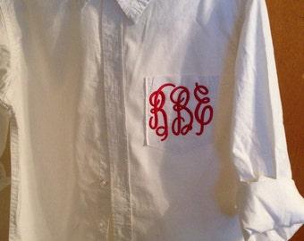Monogram White Button Down Shirt