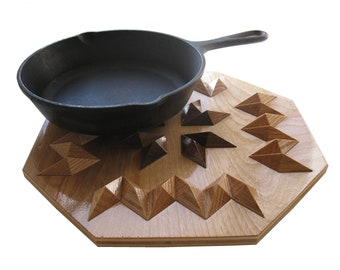 Wood Decor Hot Pad. 3 dimensional table centerpiece, Geometric hotpad or trivet.