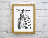 Mountain Bike Art - Black Linocut Relief Print