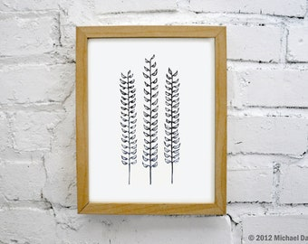 Forest Ferns Linocut Block Botanical Print