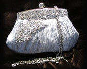 Wedding clutch, Bridal clutch, Vintage inspired Victorian Crystal Silver French Couture bridesmaid clutch, evening bag, purse, handbag