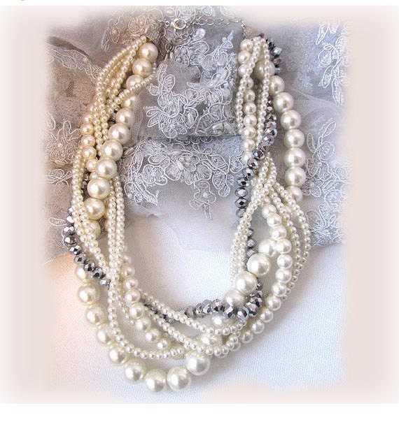 Wedding jewelry, OOAK twisted , braided ,pearl necklace, bridal necklace, bridal jewelry, bridesmaid necklace, bridesmaids jewelry