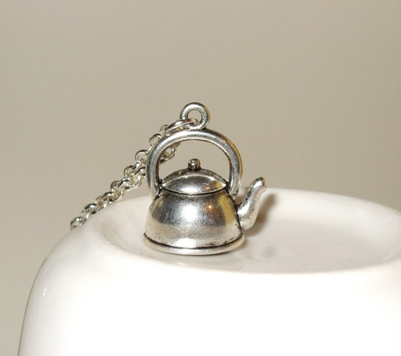 Kettle Necklace, Tea Time Charm, Tea Kettle Pendant, Silver Kettle Charm, Time For Tea, Tea Party Necklace, Kettle Pendant, Tea Lover Gift