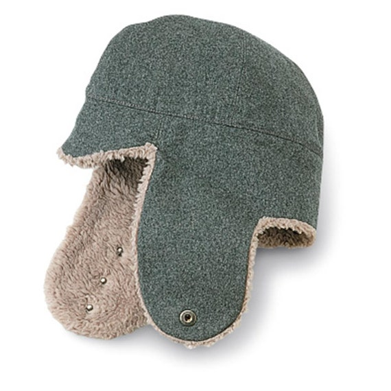 Wool Ear Flap Hat // Vintage Swiss Herringbone // Winter Hat