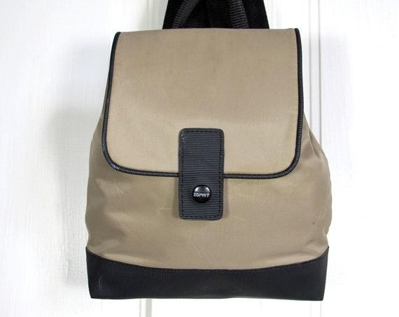 Vtg 90s Beige Black Mini Backpack / Color Block Bag / Esprit Minimalist Nylon Backpack