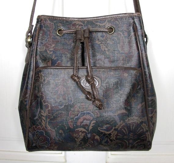 Vtg 90s Floral Paisley Print Bucket Bag / Brown Leather Drawstring Shoulder Bag / Vinyl Purse