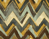 Chevron Curtain Panels Zig Zag Drapery  Linen Pair of 50 x 84 96 108 120 inch Panels Robert Allen Field Truffle