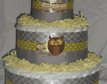Yellow and Gray Owl Theme Diapercake