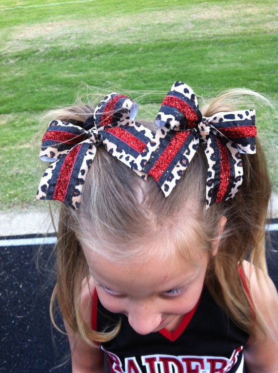 Pigtail Cheer Bows Sparkly Red Black Amp Cheetah Pigtails