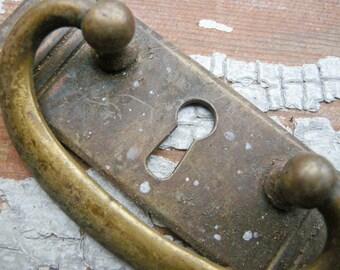 Antique brass key hole plate,escutcheon,pull handle.