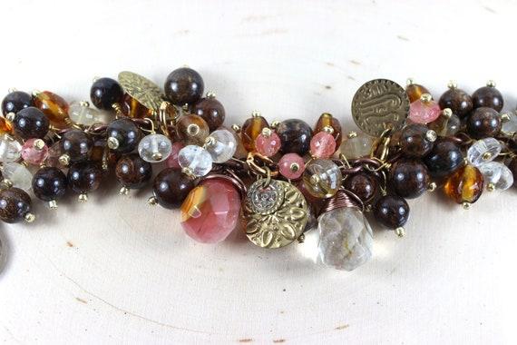 Chunky Cluster Bracelet, Gemstone Bracelet, Beadwork, Beaded Bracelet, Chocolate and Coral Bracelet, Jewelry, Jewellery