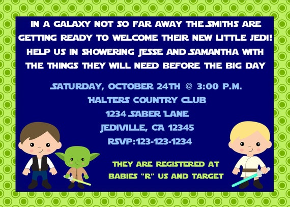 Jedi Star Wars Inspired Theme Baby Shower Invitation Print Your Own 5x7 or 4x6