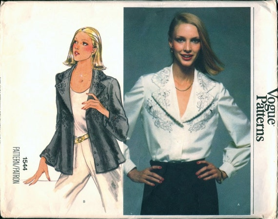 Fab Uncut 1970s Vogue 1544 Cutwork Embroidered Wide Collar Blouse Sewing Pattern B34