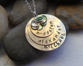 Layered Children's name Discs - On Trend Mommy Jewelry - Personalized - Hand Stamped - Family Jewelry