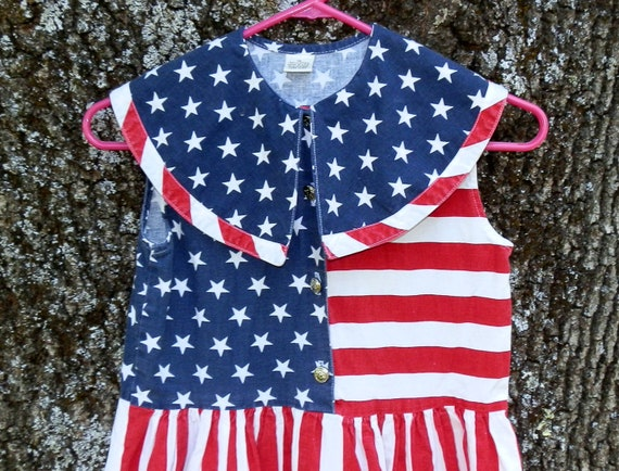 Vintage Patriot Girls Dress Size 14 Red White and Blue Stars and Stripes Made In USA