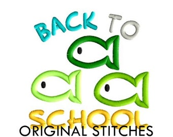 Back to School Fish Applique and Embroidery Design File 4x4 5x7 6x10 7x11 8x12