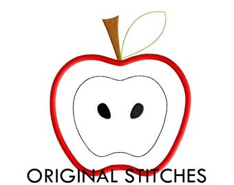 Apple Applique and Embroidery Digital Design File 4x4 5x7 6x10