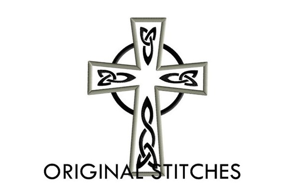 Celtic Cross Applique and Machine Embroidery Digital Design File 4x4 5x7 6x10 7x11