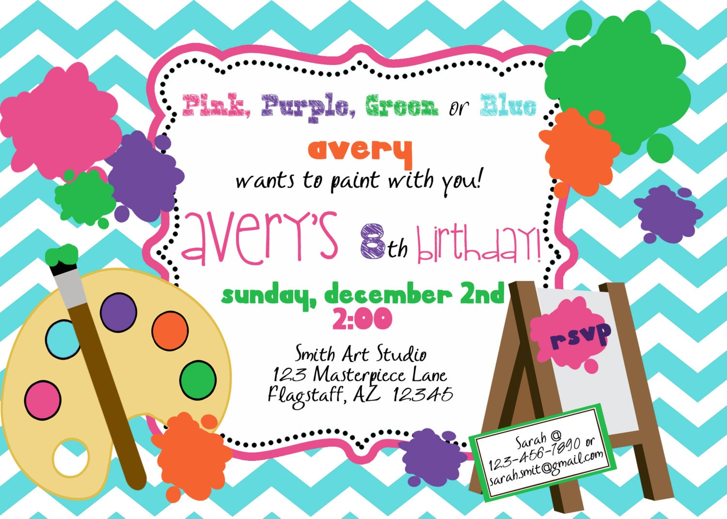 Paint party invitation printable invite by luv bug by luvbugdesign for Paint party invitations free