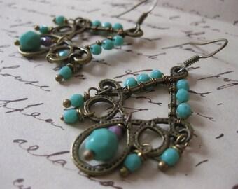 Exotic Chandelier Earrings Bohemian Gypsy - Czech Faceted Sea foam / Teal Green Beads
