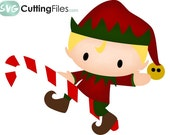 Elf riding a candy cane holiday christmas SVG cutting files cricut  silhouette cutting machines,  for card making and scrapbooking