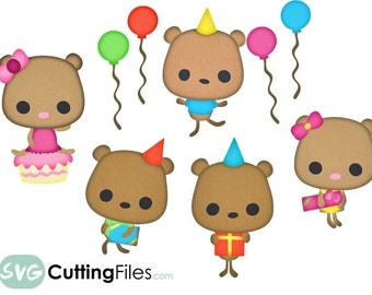 Birthday Party bears, teddy bears, present, cupcake, balloons, party, celebrate SVG cutting files for cricut and home cutting machines