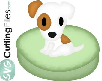 Jack Russell Terrier dog puppy SINGLE FILE, doggie bed  SVG cutting files for cricut and cutting machines,  for card making and scrapbooking