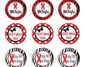 Red Ribbon Week, Drug Free - 1 inch image sheets for bottle caps