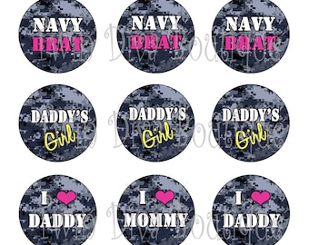 Navy Princess, Brat digital navy camo military bottle cap images - 1 inch image sheets for bottle caps