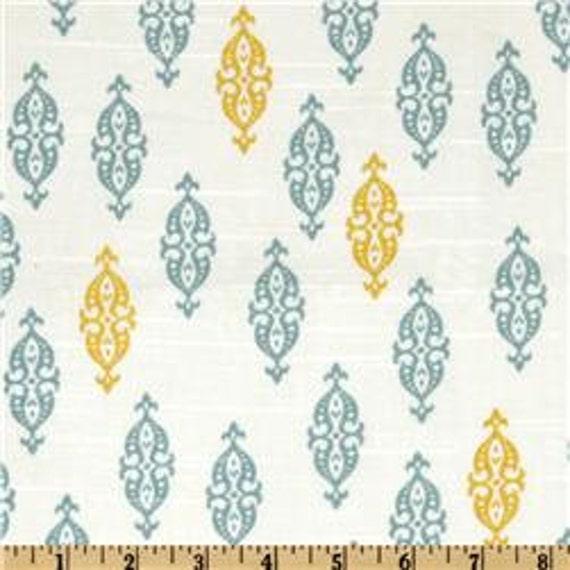 Two 20 x 20  Custom Designer Decorative Pillow Covers / Euro Shams -  Robert Allen Dwell Studio - Boteh Citrine Aquamarine