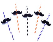 Halloween Mustache Straws - Set of 10 - Mustaches on Orange, Purple, and Black Striped Paper Straws