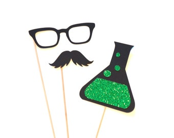 Halloween Photo Booth Props - 3 piece set - GLITTER Photobooth Props - Mad Scientist