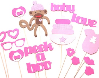 Baby Shower Props - Baby Girl Photo Props - Photo Booth Props - Pink Photo Props