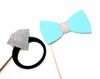 Bridal Shower Props - Bow tie and Diamond Ring - 2 piece prop set