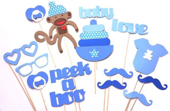 baby shower props baby boy photo props photo booth props blue
