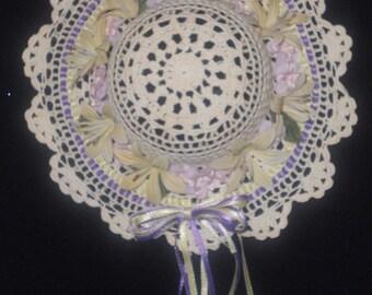Victorian Crocheted Flowered Hat Bonnet Wall Hanging 7 1/2 Inch Diameter