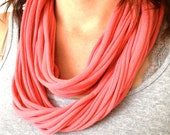 SALE Salmon Pink Spaghetti Infinity T-Shirt Jersey Infinity Scarf Repurposed Upcycled- Ready to Ship