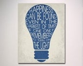 Typography Print / Happiness Can Be Found / Dumbledore Quote Poster / Wall Art / Harry Potter Poster