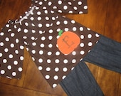 Peasant top with monogrammed pumpkin applique--perfect for fall, pumpkin patch, Thanksgiving, Halloween