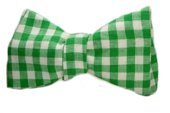 Kelly Green Gingham Men's Bow Tie