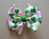 "St Patricks Day Hair Bow - Pink and Green Shamrocks - 3"" or 4"" Medium Pinwheel Bow - Shamrock Bow - St Pattys Bow"