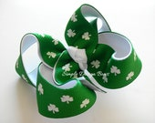 "St Patricks Day Hair Bow - Shamrock Hair Bow - 3"" Twisted Boutique Bow"