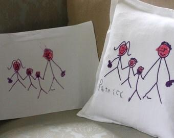 Custom embroidered children's art decorative pillow
