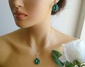 Vintage inspired art deco swarovski crystal rhinestone emerald green teardrop wedding jewelry set bridal jewelry bridesmaid gifts