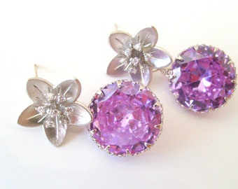 Swarovski crystal lilac diamond cut crystal 925 sterling silver floral post earrings-Wedding jewelry-Bridal earrings-Vintage wedding